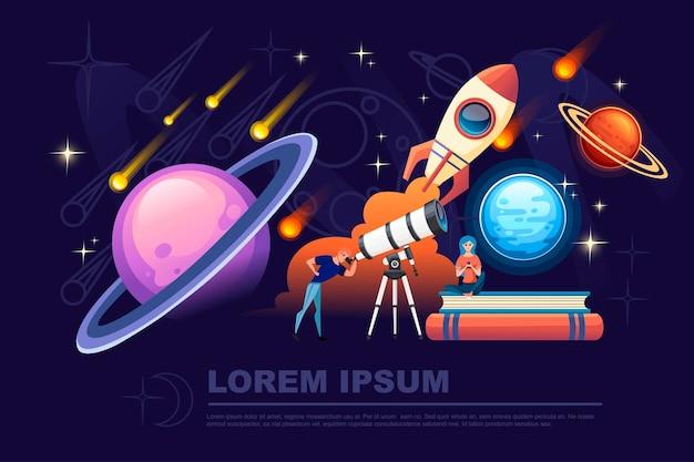 Homem olhando através de um telescópio branco com estrelas cadentes no céu noturno plano de fundo ilustração vetorial plana planetário design banner horizontal.