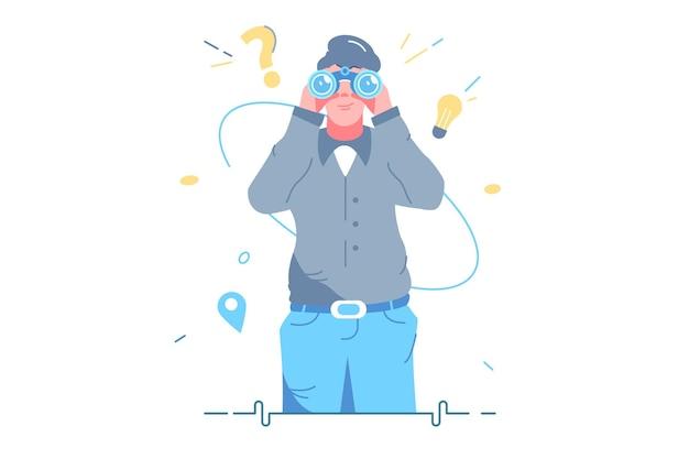 Homem olhando em ilustração vetorial de ferramenta de binóculos. olhe para o futuro, escolha o estilo plano de direção. em busca de oportunidades, decisões, novo conceito de ideias de negócios. isolado em fundo branco