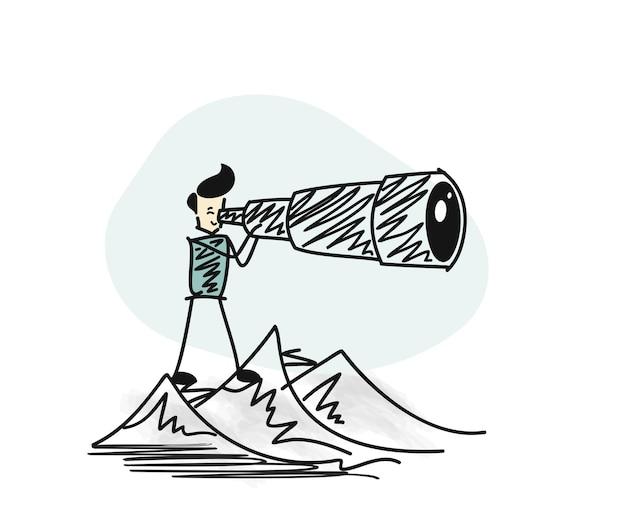 Homem olhando pelo telescópio topo da montanha. ilustração em vetor esboço desenhado à mão.