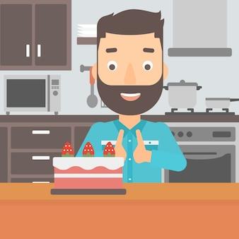 Homem, olhar, bolo