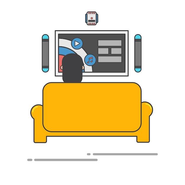 Homem, olhar, seu, tv, tela