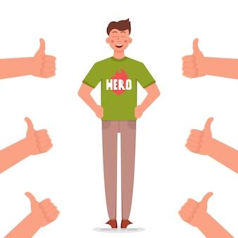 Homem orgulhoso com muitos polegares para cima mãos. ilustração vetorial