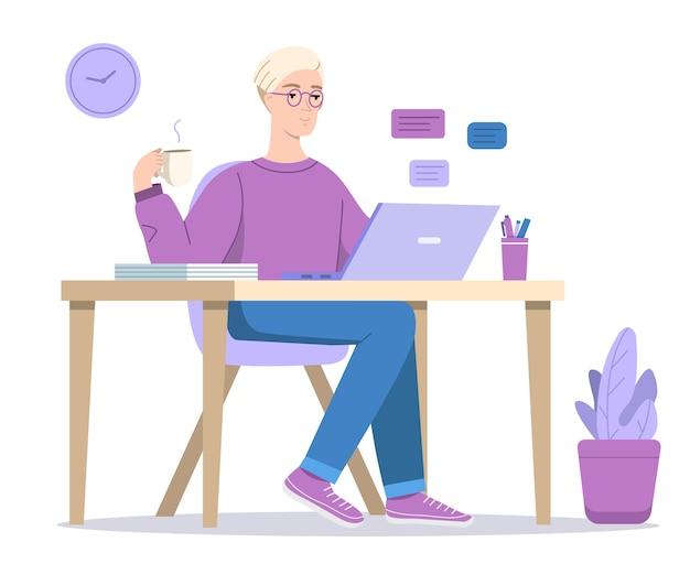 Homem ou menino, texting, em, computador, ilustração