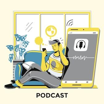 Homem ouvindo um podcast ilustrado