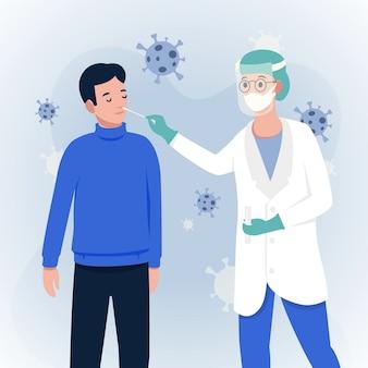Homem paciente e médico fazendo um teste de zaragatoa nasal