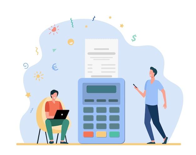 Homem pagando online e recebendo talão de vendas. recibo, laptop, ilustração em vetor plana terminal. pagamento e transação de dinheiro