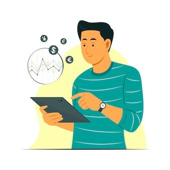 Homem parece um tablet para verificar o gráfico de moeda estrangeira