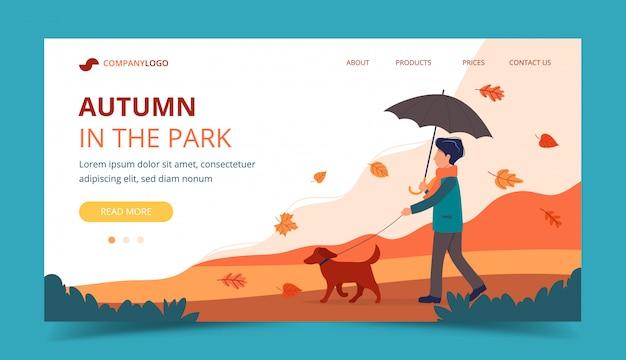 Homem passeando com o cachorro no outono. modelo de página de destino.