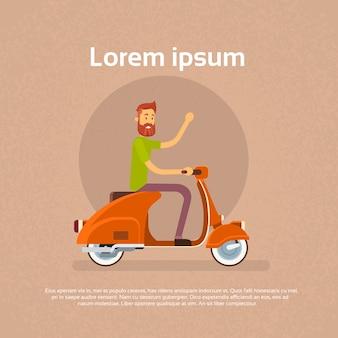 Homem, passeio, motocicleta, scooter, onda, mão
