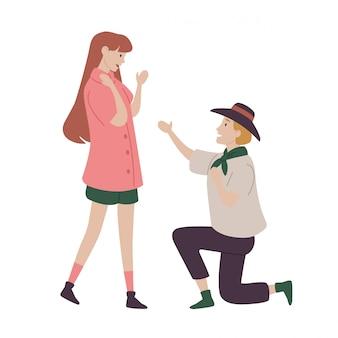 Homem pedir a mão da mulher em casamento.
