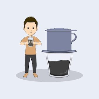 Homem pega uma xícara de café com design vietnam drip coffe