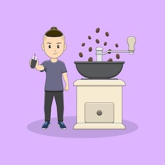 Homem pega uma xícara de café com moedor de café