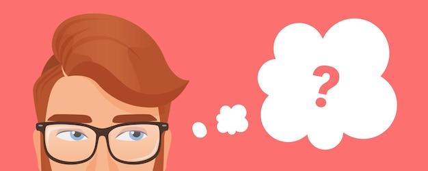 Homem pensando, balão de fala com ponto de interrogação