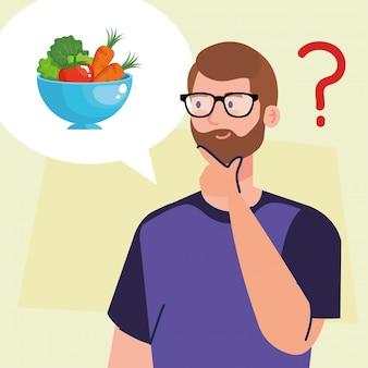 Homem pensando em comida saudável