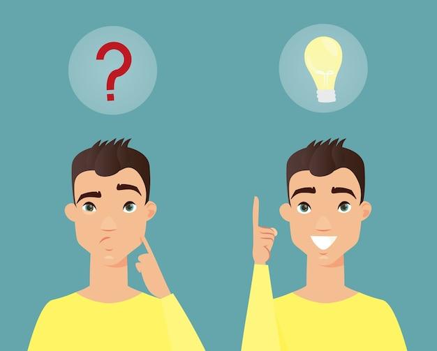 Homem pensativo. jovem inteligente pensando e ter uma ideia. estilo simples dos desenhos animados.
