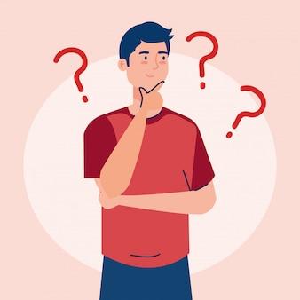 Homem pensativo, jovem pensando ou resolvendo problema