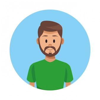 Homem, perfil, caricatura