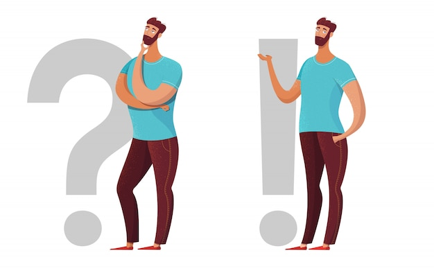 Homem, pergunta, ponto de exclamação ilustração plana