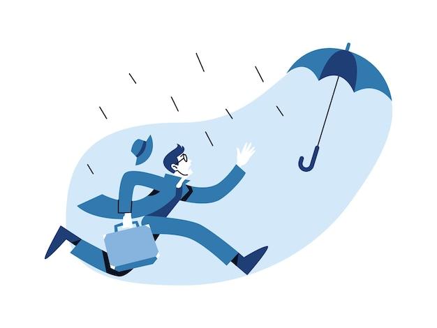 Homem perseguindo um guarda-chuva