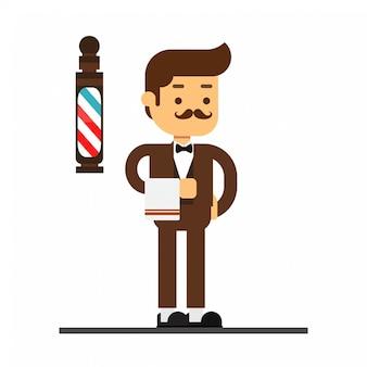 Homem, personagem, avatar, icon.barber