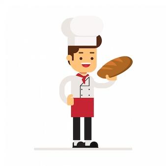Homem, personagem, avatar, icon.breads