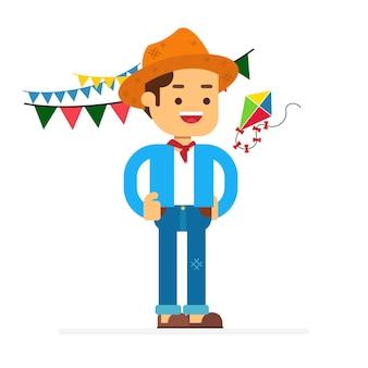 Homem, personagem, avatar, icon.festa, junina