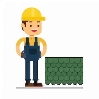 Homem, personagem, avatar, icon.roof, construção, trabalhador, conserto, lar