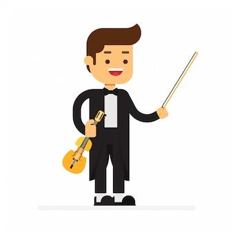 Homem, personagem, avatar, icon.violinist, homem