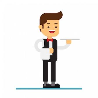 Homem, personagem, avatar, icon.waiter