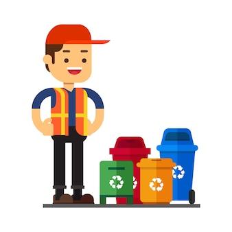 Homem, personagem, avatar, icon.waste, caixas