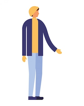 Homem, personagem, desgastar, inverno, roupas