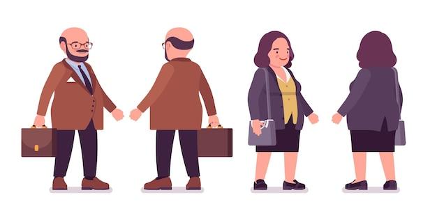 Homem pesado gordinho e mulher curvilínea com a barriga em pé. corpo gordo e com sobrepeso, funcionário público tipo redondo. moda de gente grande, além de roupas formais em tamanho. ilustração em vetor estilo simples dos desenhos animados
