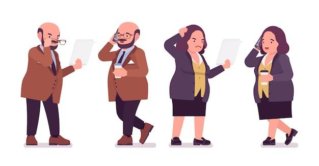 Homem pesado gordinho e mulher curvilínea ocupada com a papelada. corpo gordo e com sobrepeso, funcionário público tipo redondo. moda de gente grande, além de roupas formais em tamanho. ilustração em vetor estilo simples dos desenhos animados