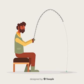 Homem, pesca, backgronund