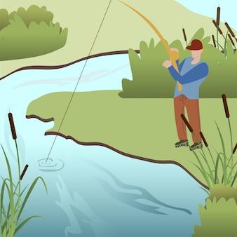 Homem, pesca, em, lago, caricatura, vetorial, ilustração