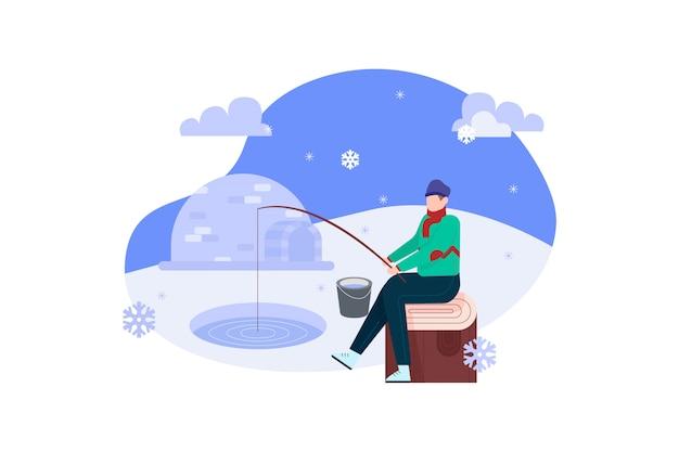 Homem pesca na ilustração de inverno