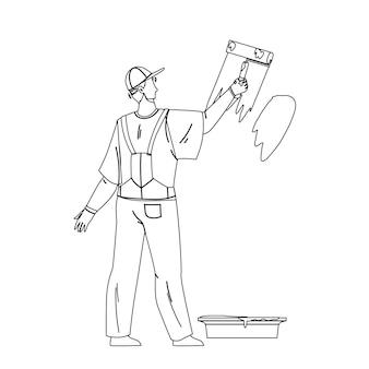 Homem pintor pintando parede com ferramenta de rolo