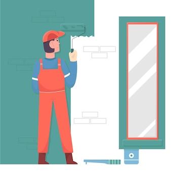 Homem pintor pintando parede