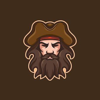 Homem pirata com bigode, barba e logotipo do mascote do chapéu