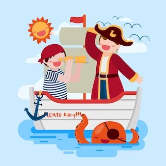 Homem pirata e menino de salada usam binóculo no navio e lula no mar, desenho em personagem de desenho animado