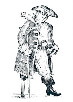 Homem pirata ou capitão no navio viajando pelos oceanos e mares