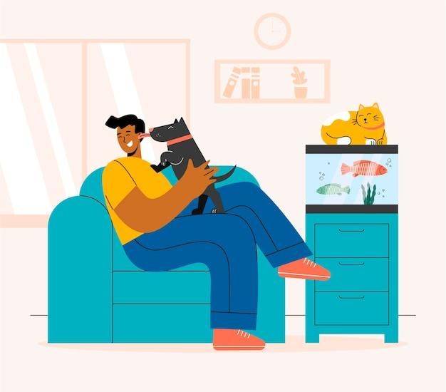 Homem plano com cachorro, gato e peixe