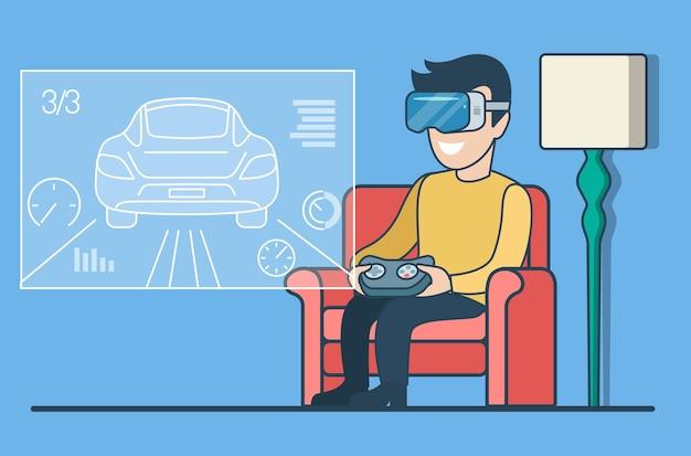 Homem plano com óculos de realidade virtual sentado e jogando um jogo de corrida na tela virtual