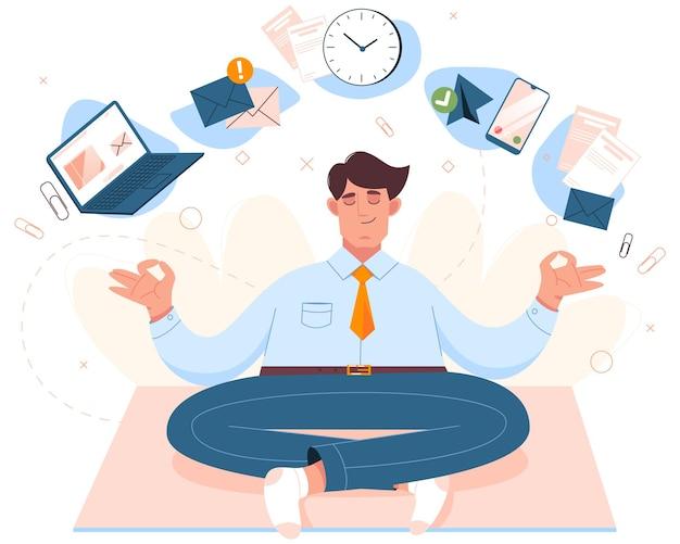 Homem plano se senta em posição de lótus, praticando a meditação da atenção plena. trabalhador fazendo ioga no local de trabalho.