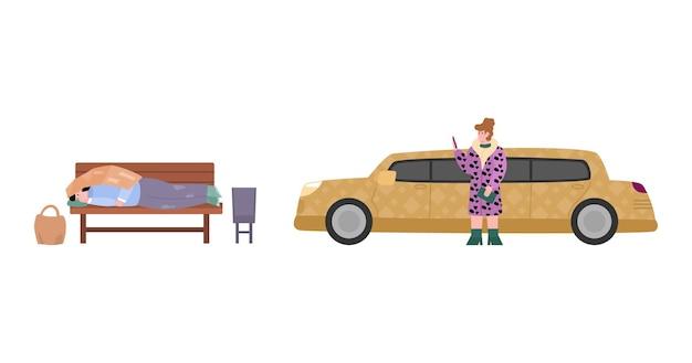 Homem pobre sem-teto e mulher rica saindo do carro ilustração vetorial plana