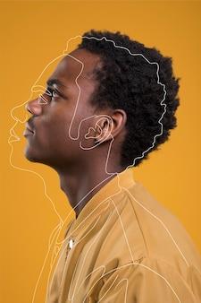 Homem posando de vista lateral com linhas