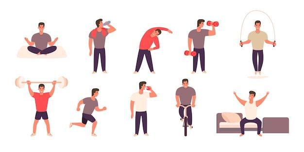 Homem praticando diferentes esportes e atividades físicas.