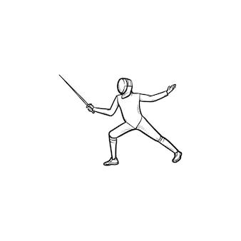 Homem praticando esgrima ícone de esboço desenhado de mão. esgrimista, swardsman, conceito de competição de esgrima