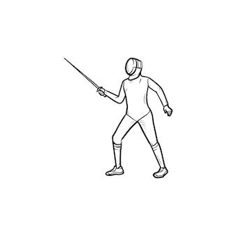 Homem praticando esgrima ícone de esboço desenhado de mão. esgrimista, swardsman, conceito de competição de esgrima Vetor Premium