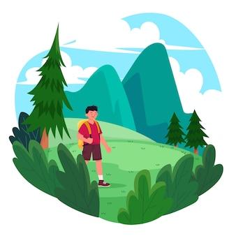 Homem praticando turismo ecológico